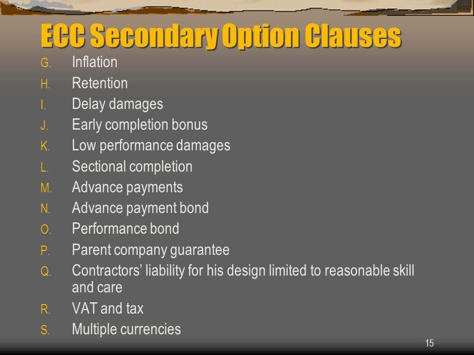 ECC Secondary Option Clauses