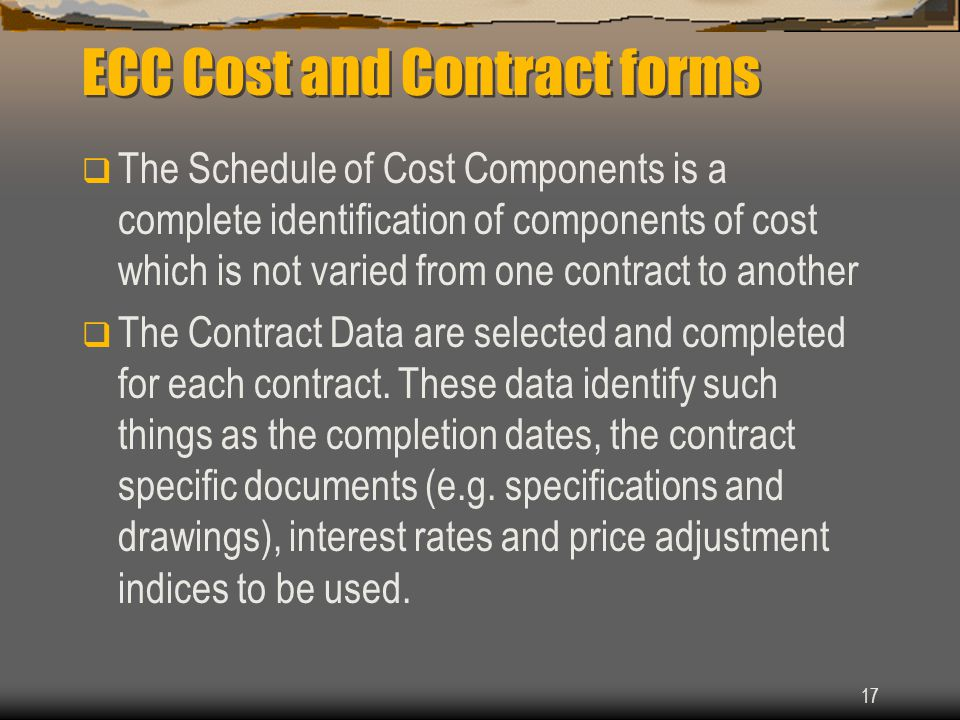 ECC Cost and Contract forms