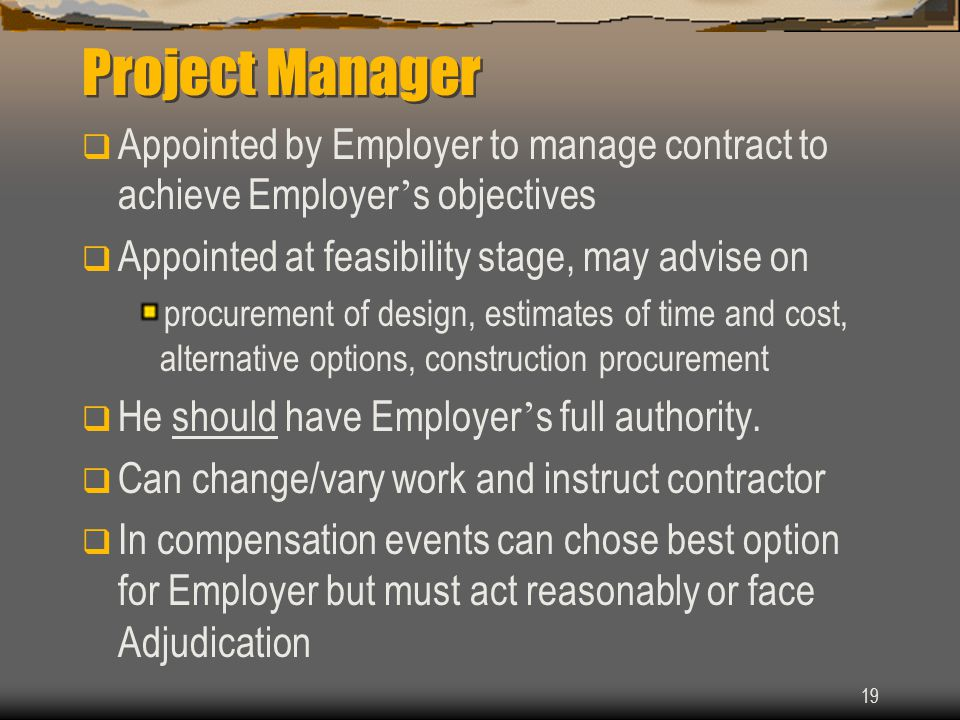Project Manager Appointed by Employer to manage contract to achieve Employer's objectives. Appointed at feasibility stage, may advise on.