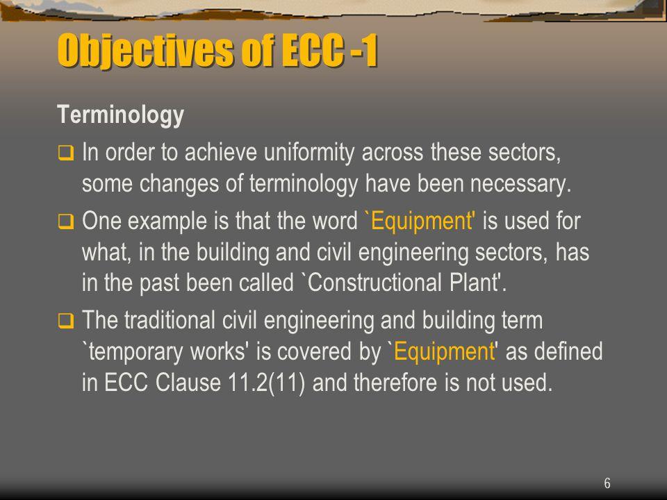 Objectives of ECC -1 Terminology