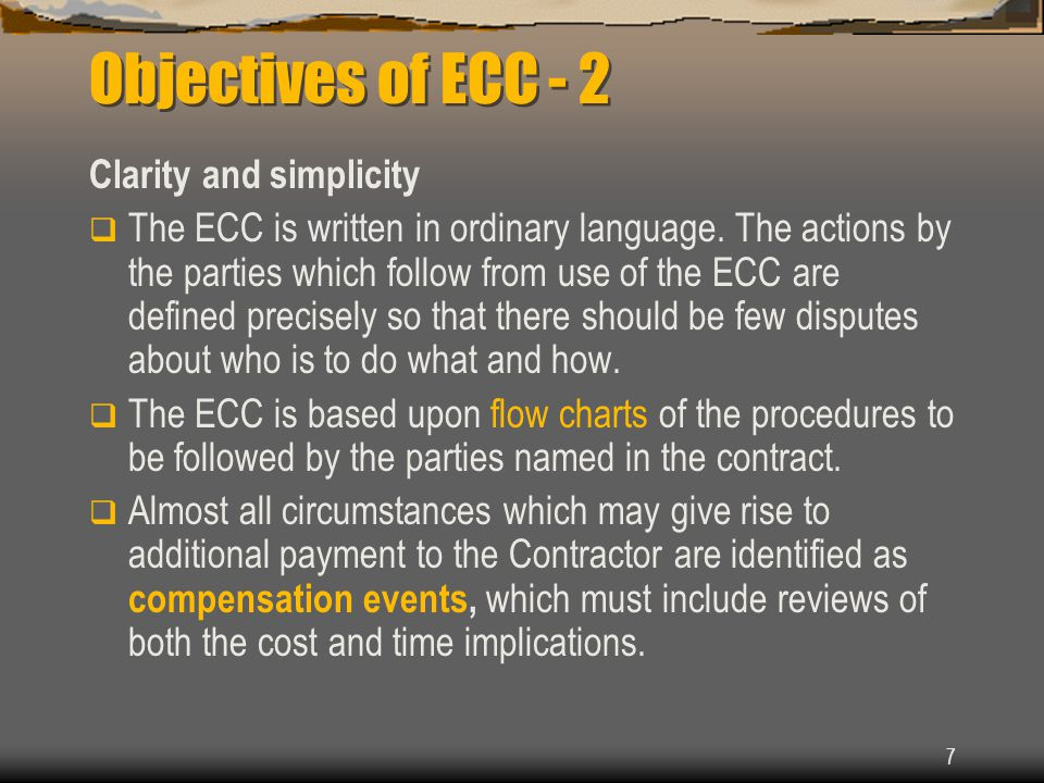 Objectives of ECC - 2 Clarity and simplicity