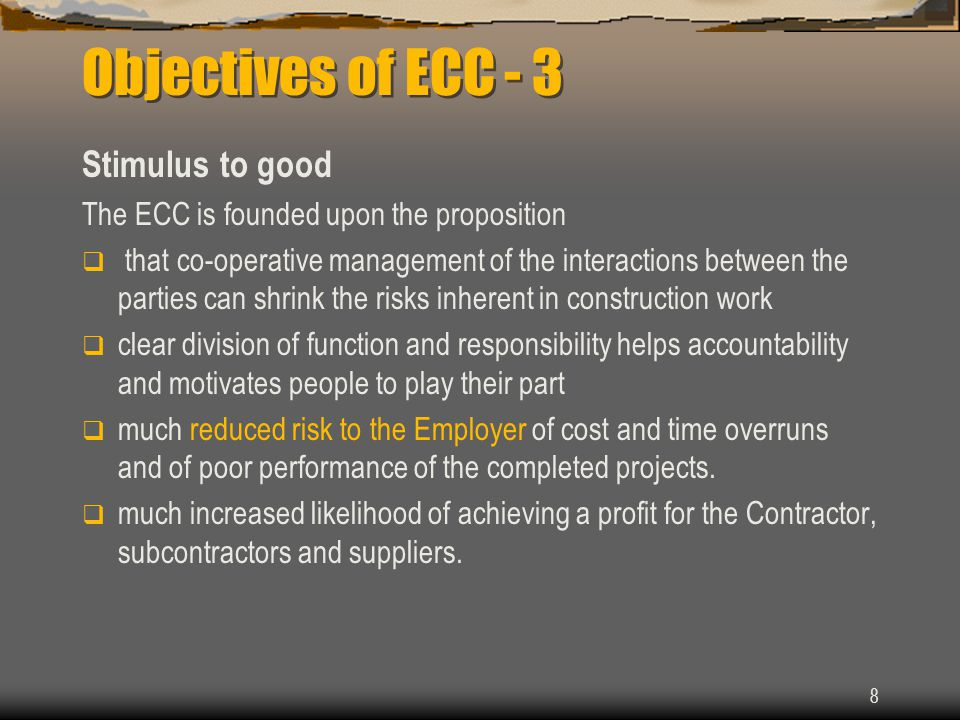Objectives of ECC - 3 Stimulus to good
