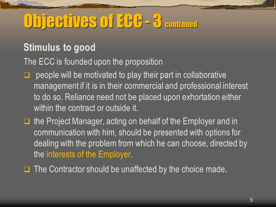 Objectives of ECC - 3 continued