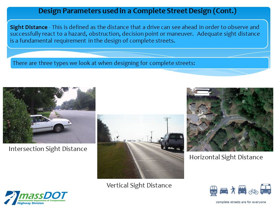 Design Parameters used in a Complete Street Design (Cont.)