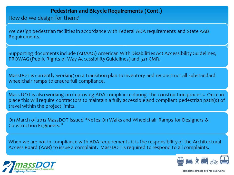 Pedestrian and Bicycle Requirements (Cont.)