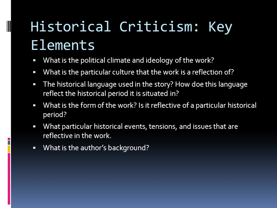 Historical Criticism: Key Elements