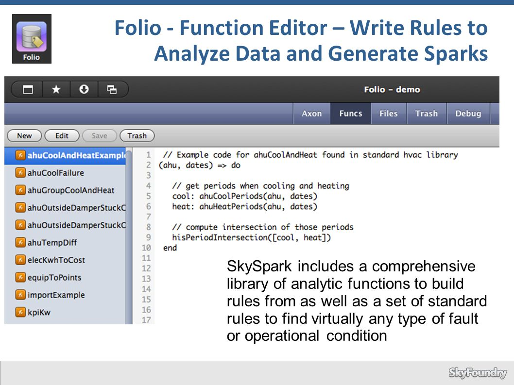 Folio - Function Editor – Write Rules to Analyze Data and Generate Sparks