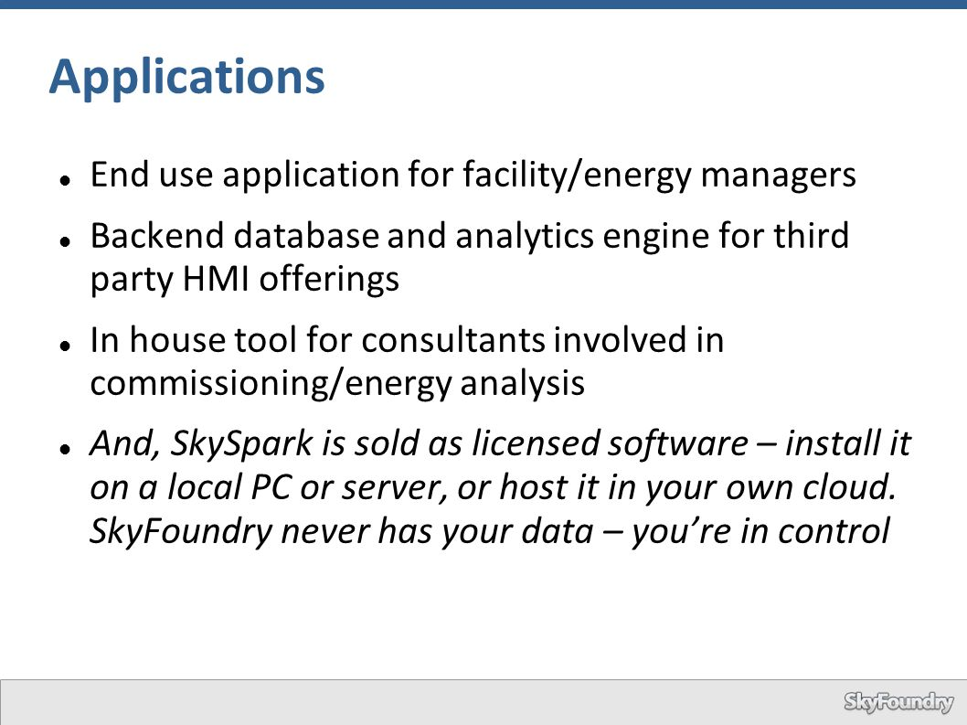 Applications End use application for facility/energy managers