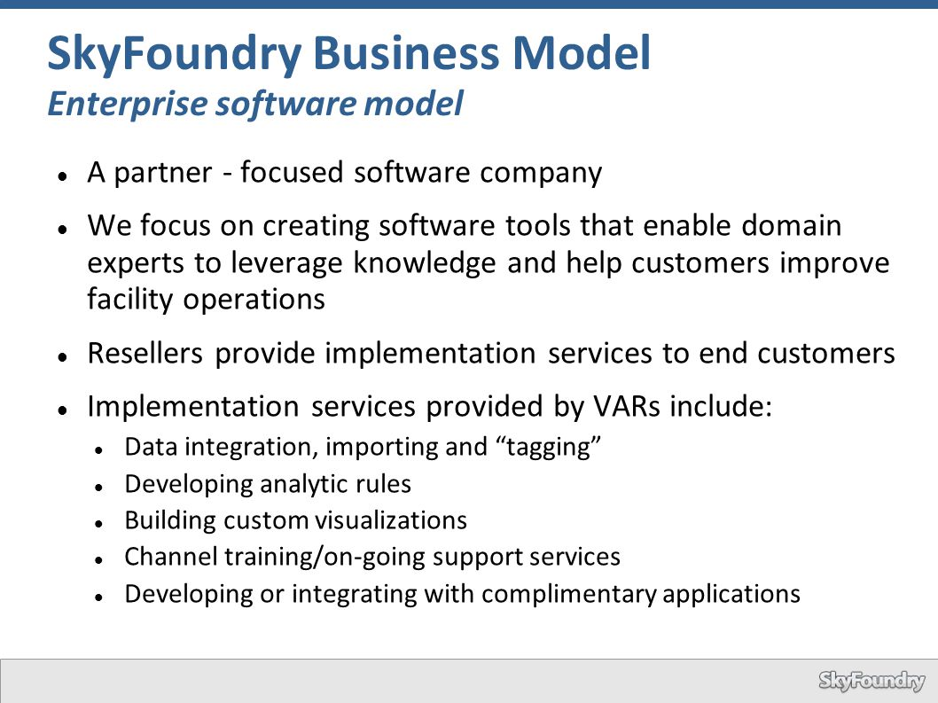 SkyFoundry Business Model Enterprise software model