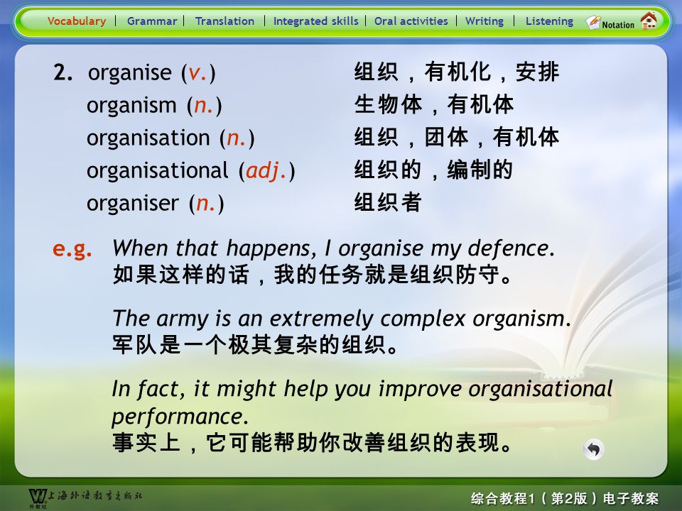 Consolidation Activities- Word derivation- organise