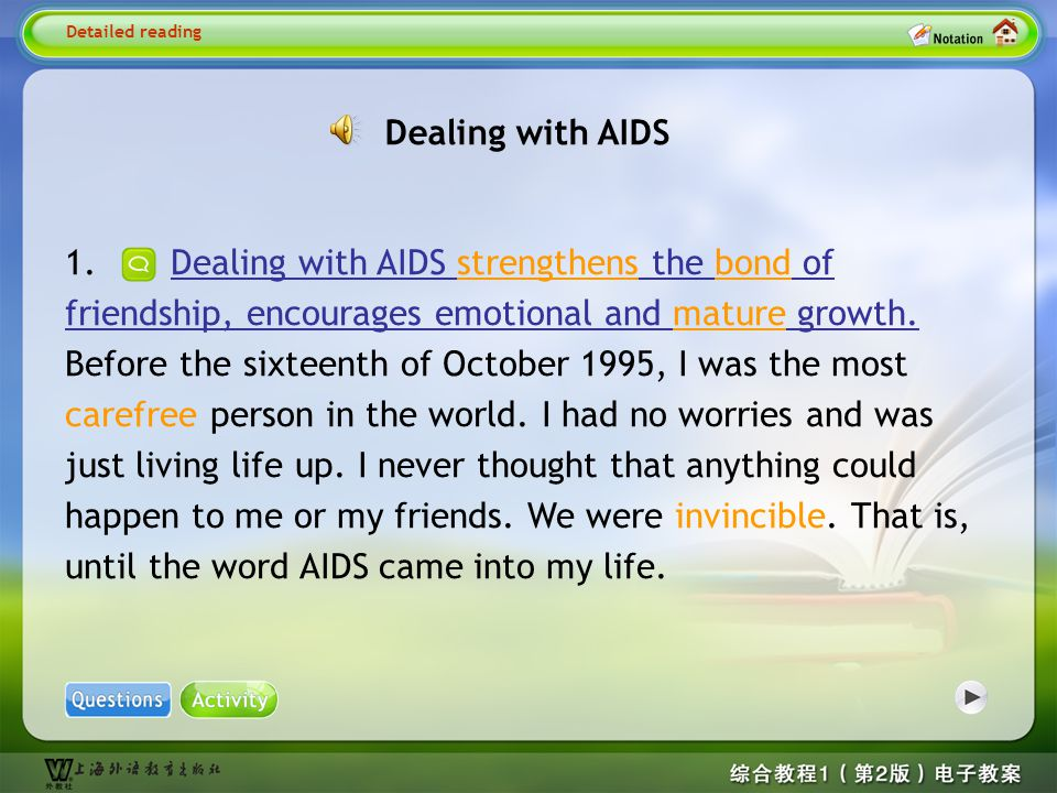 Detailed reading1 Dealing with AIDS