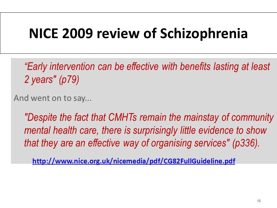 NICE 2009 review of Schizophrenia