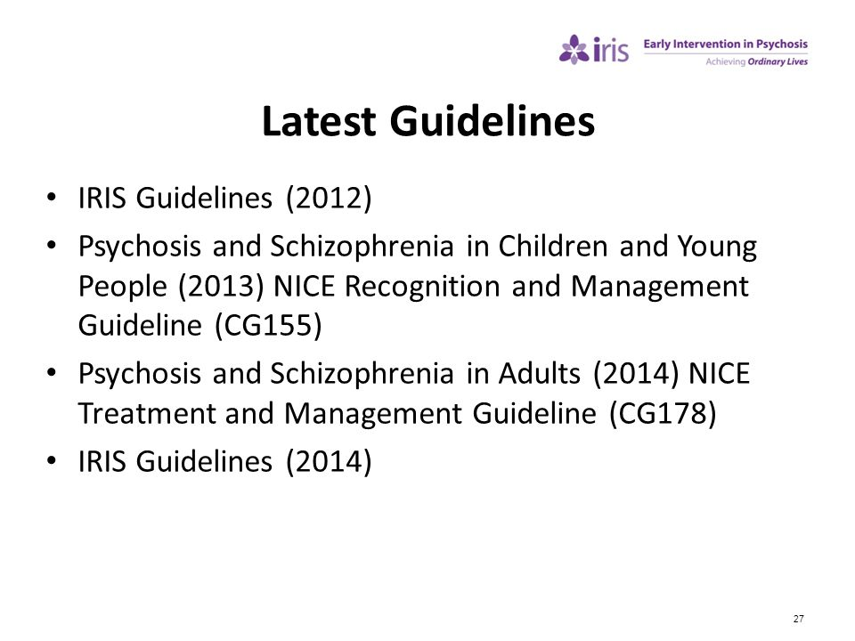 Latest Guidelines IRIS Guidelines (2012)