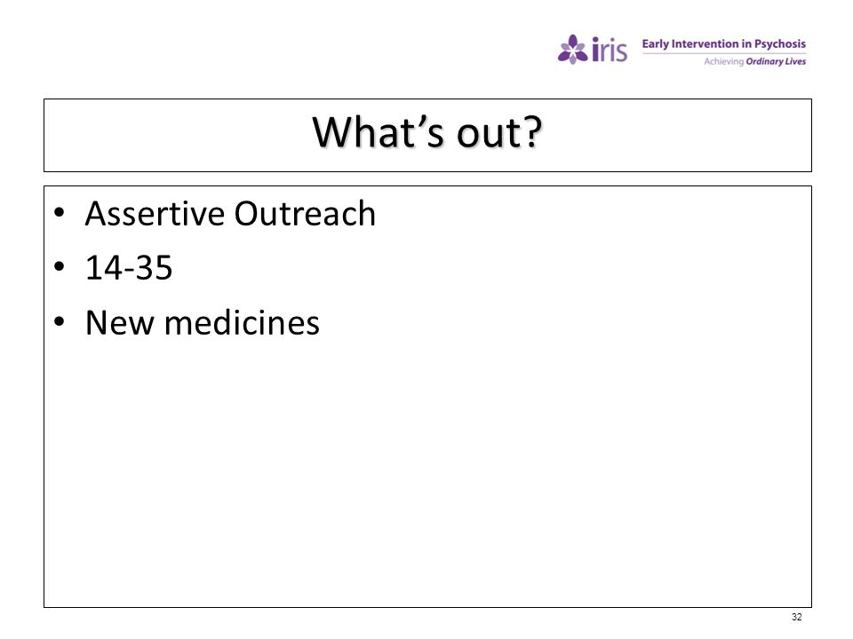 What's out Assertive Outreach 14-35 New medicines