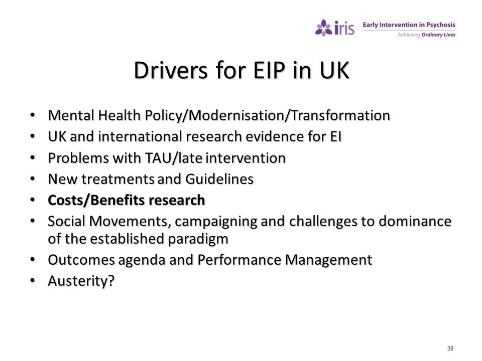 Drivers for EIP in UK Mental Health Policy/Modernisation/Transformation. UK and international research evidence for EI.