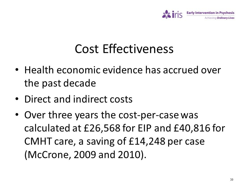 Cost Effectiveness Health economic evidence has accrued over the past decade. Direct and indirect costs.