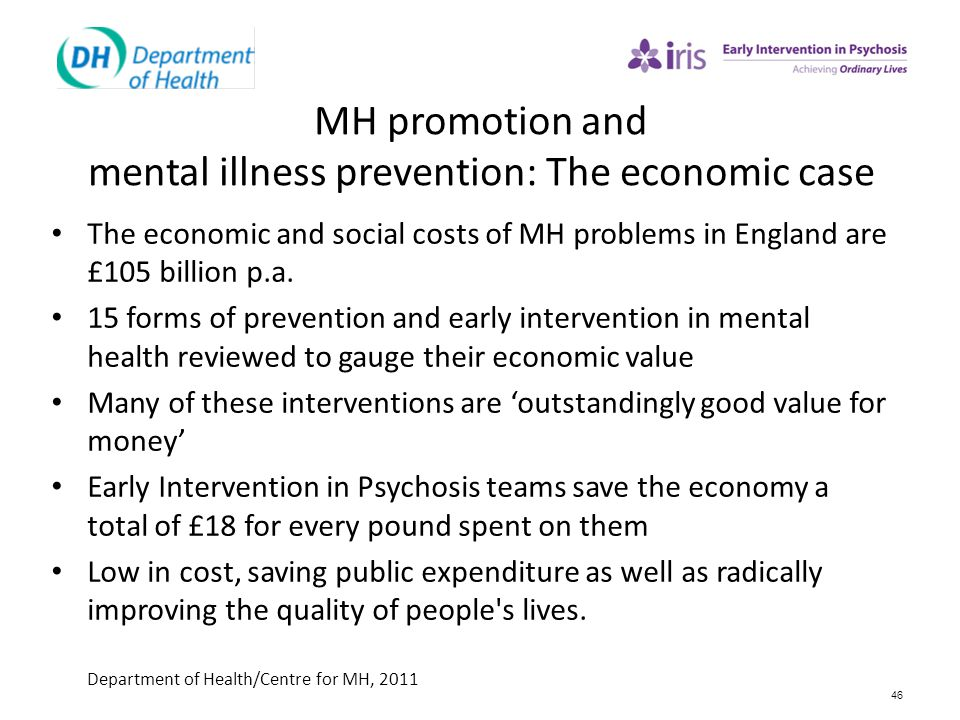 MH promotion and mental illness prevention: The economic case