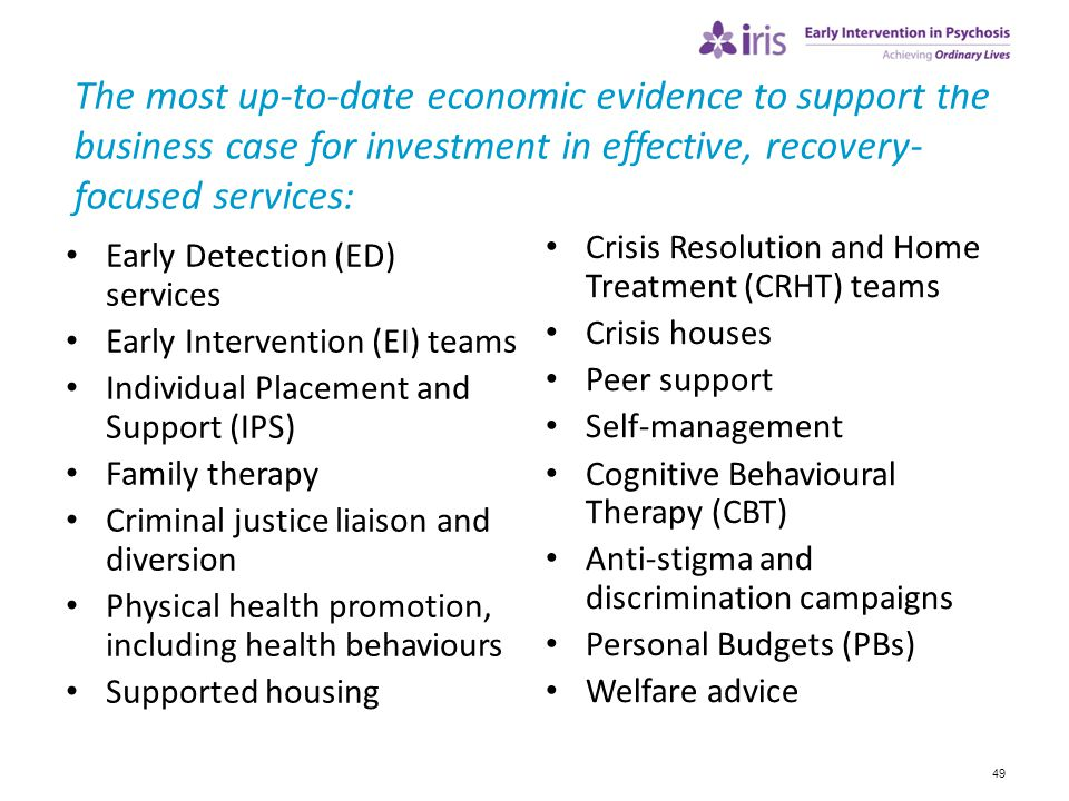 The most up-to-date economic evidence to support the business case for investment in effective, recovery-focused services: