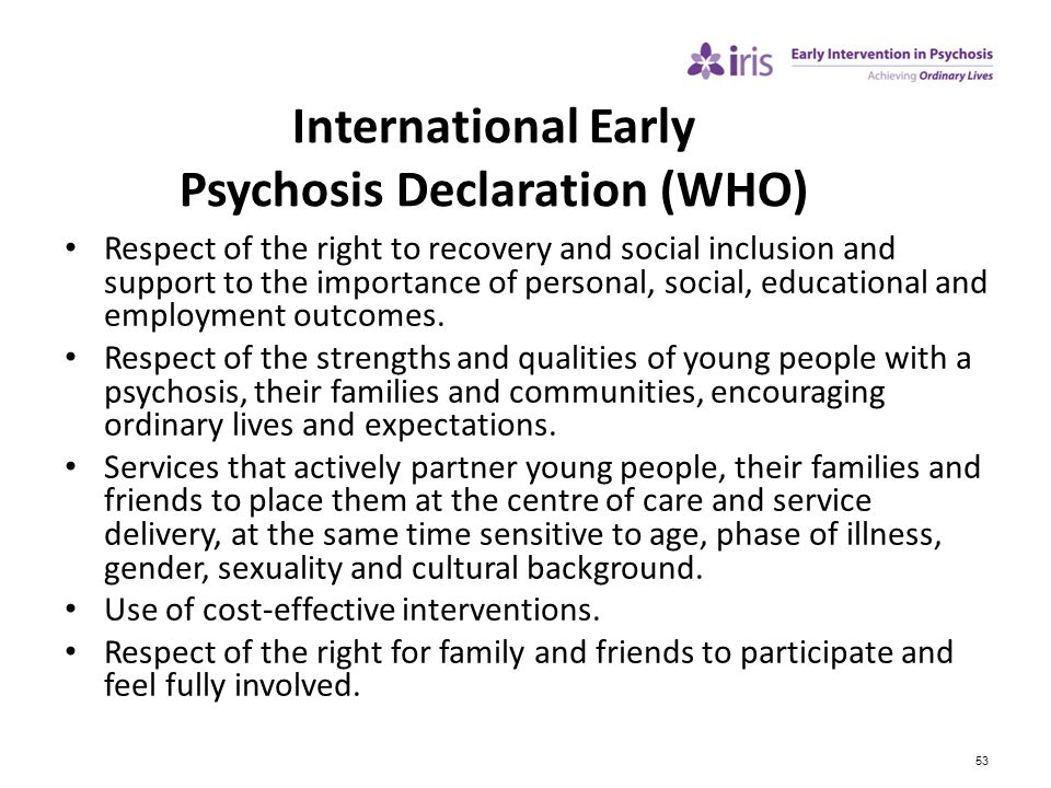 International Early Psychosis Declaration (WHO)