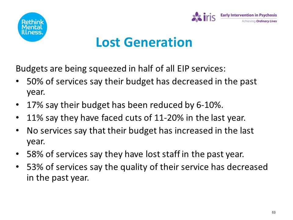 Lost Generation Budgets are being squeezed in half of all EIP services: 50% of services say their budget has decreased in the past year.