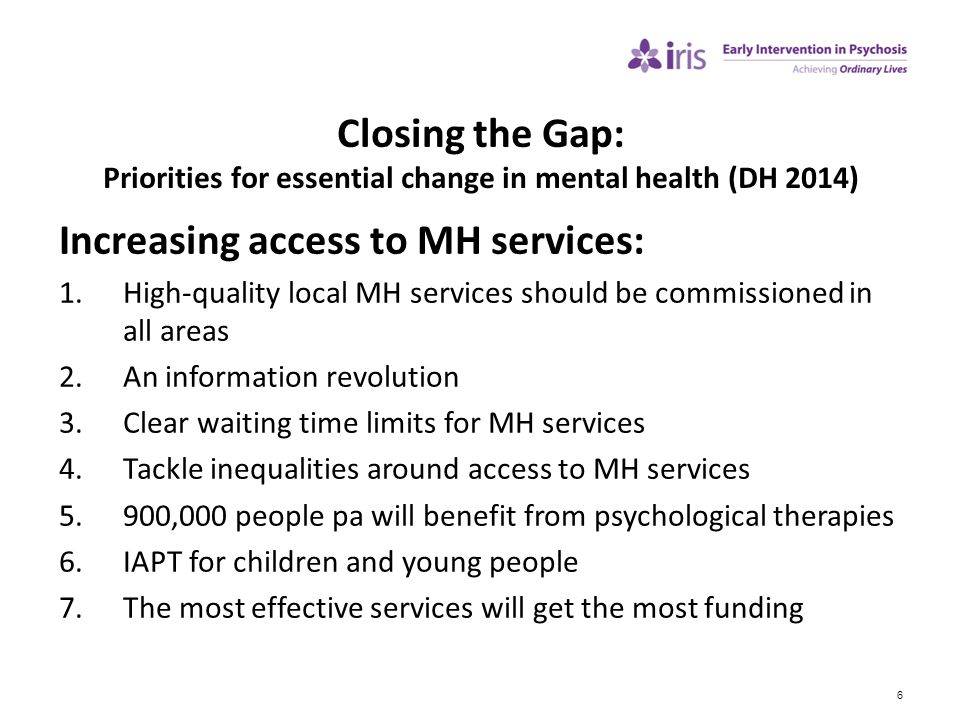 Increasing access to MH services: