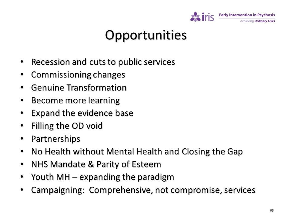 Opportunities Recession and cuts to public services