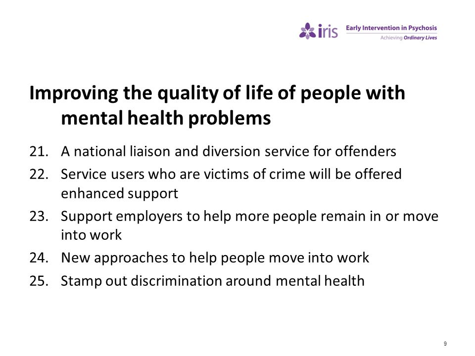 Improving the quality of life of people with mental health problems