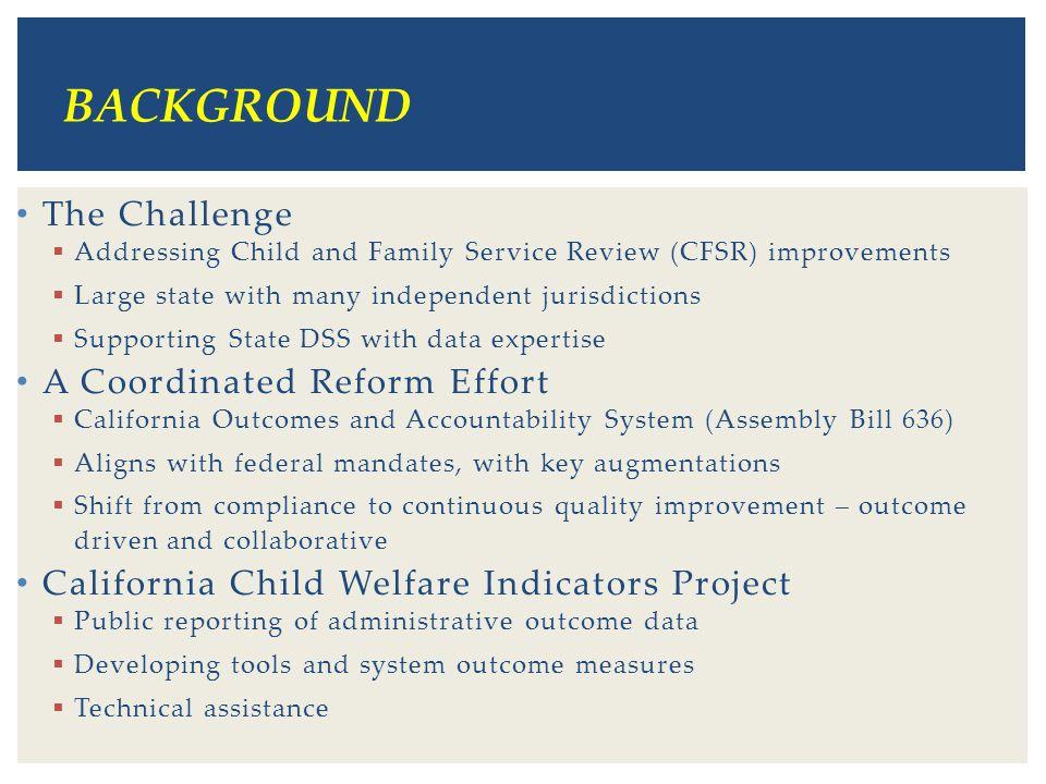 BACKGROUND The Challenge A Coordinated Reform Effort