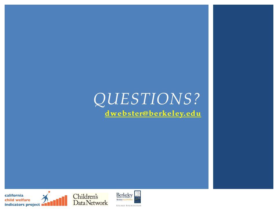 Questions dwebster@berkeley.edu