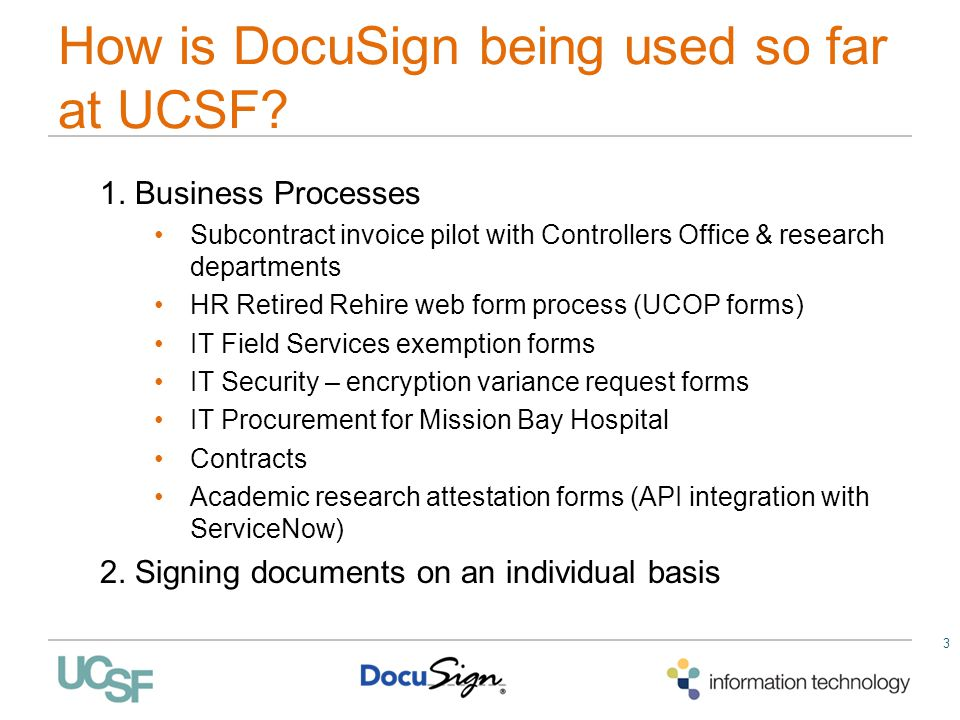 How is DocuSign being used so far at UCSF