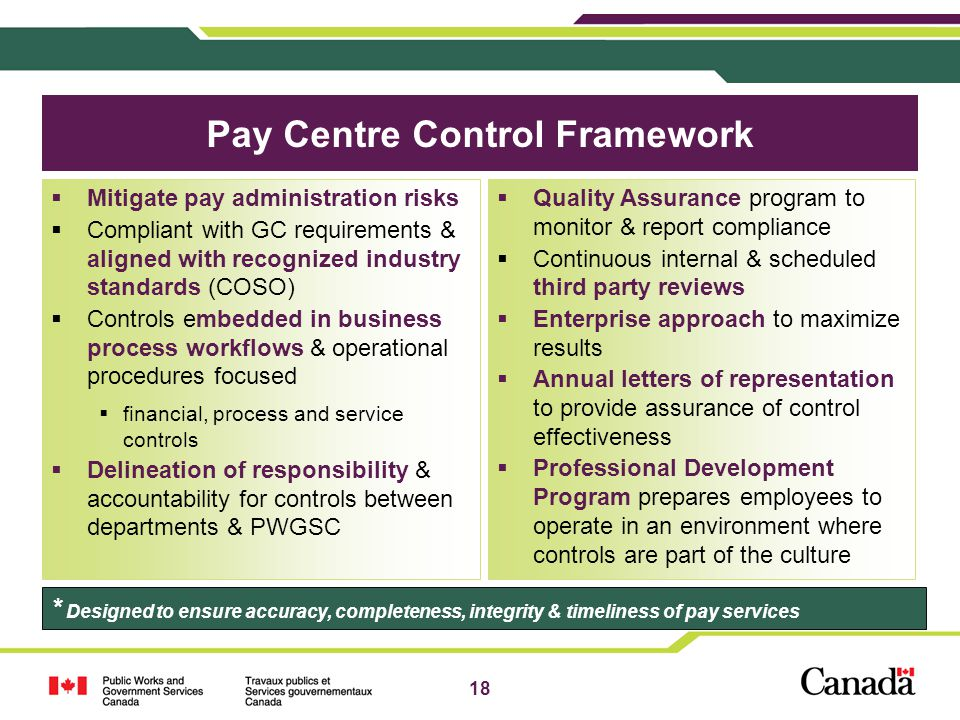 Pay Centre Control Framework