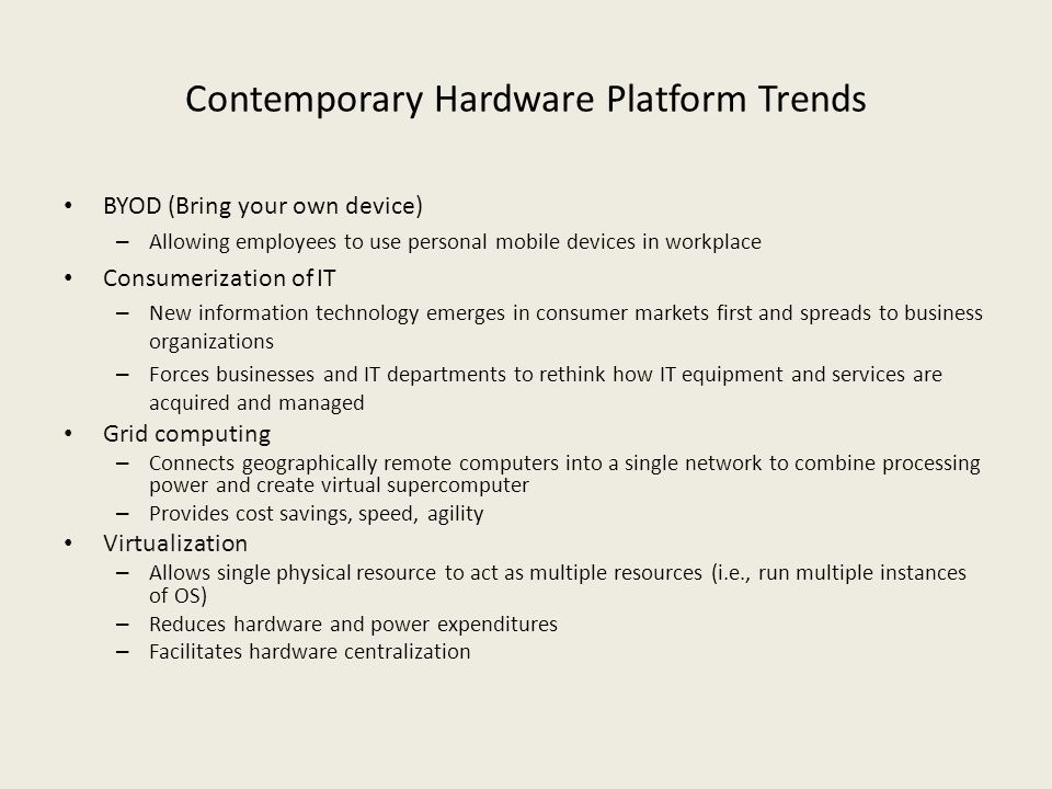 Contemporary Hardware Platform Trends