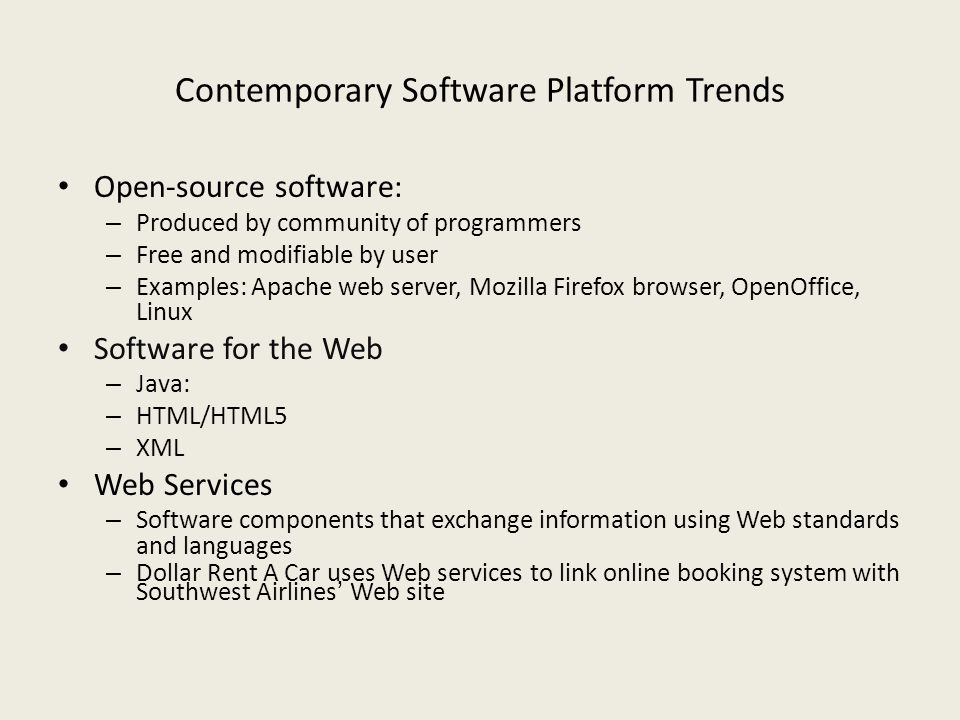 Contemporary Software Platform Trends