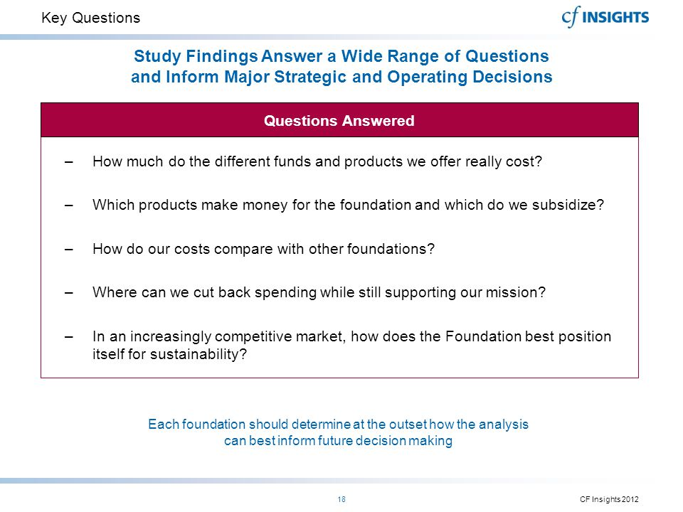 Key Questions Study Findings Answer a Wide Range of Questions and Inform Major Strategic and Operating Decisions.