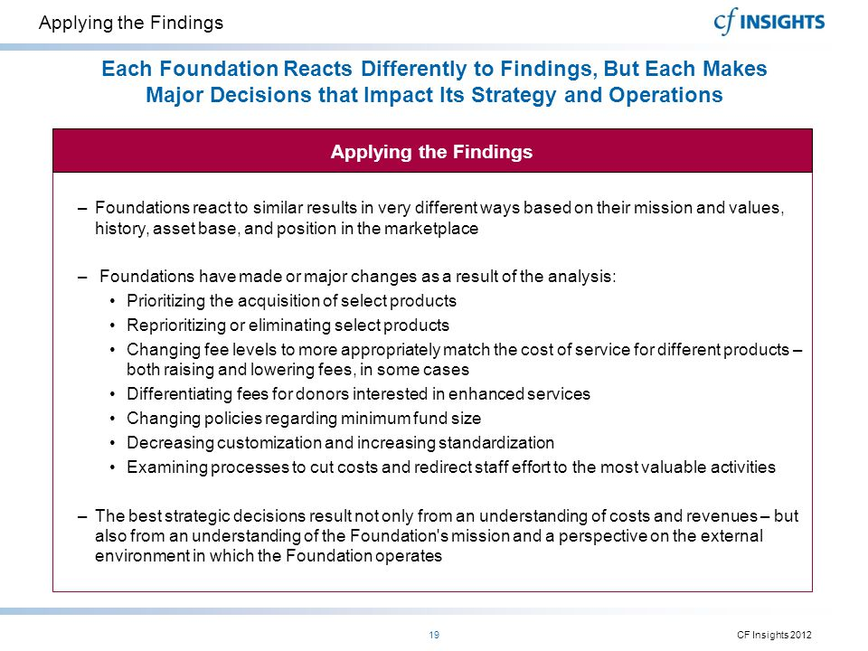 Applying the Findings Each Foundation Reacts Differently to Findings, But Each Makes Major Decisions that Impact Its Strategy and Operations.