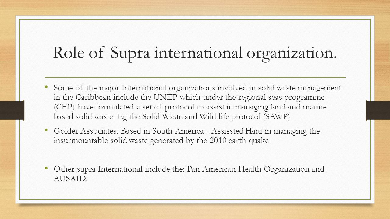 Role of Supra international organization.
