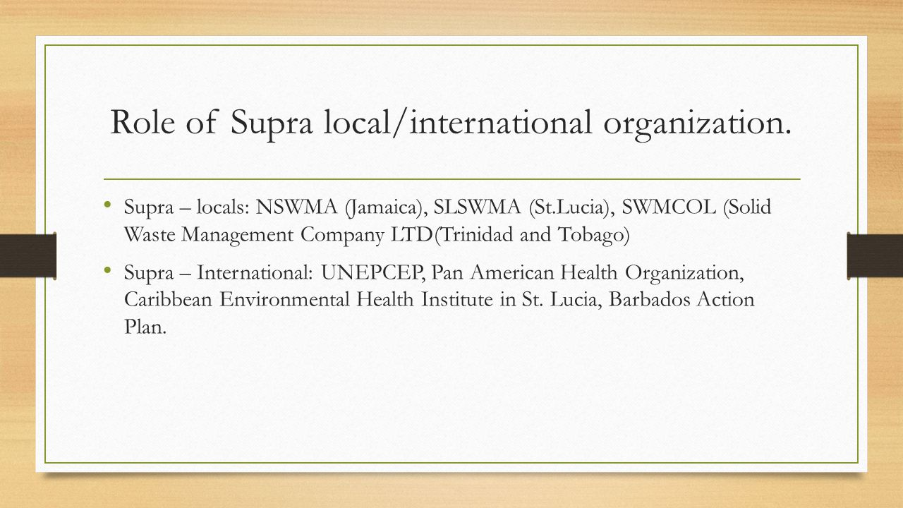 Role of Supra local/international organization.