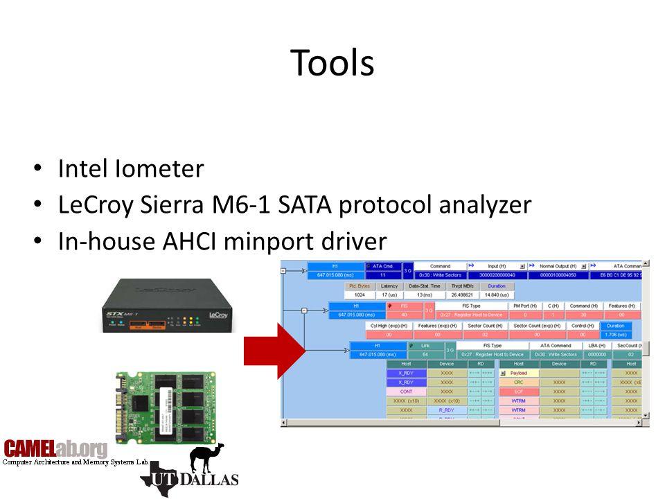 Tools Intel Iometer LeCroy Sierra M6-1 SATA protocol analyzer
