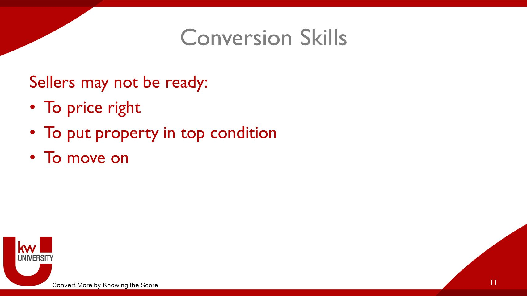 Conversion Skills Sellers may not be ready: To price right