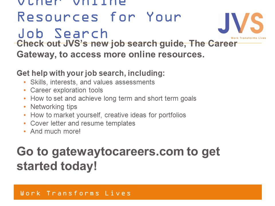 Other Online Resources for Your Job Search