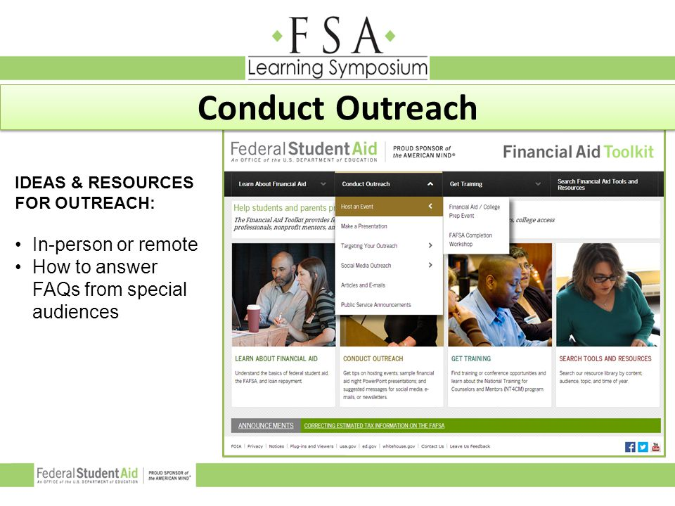 Conduct Outreach In-person or remote