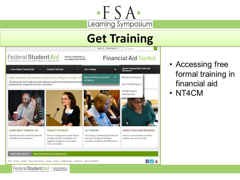 Get Training Accessing free formal training in financial aid NT4CM
