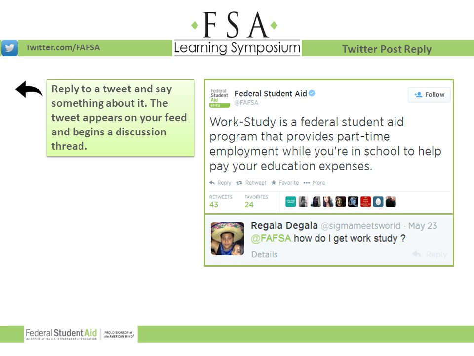 Twitter.com/FAFSA Twitter Post Reply. Reply to a tweet and say something about it.