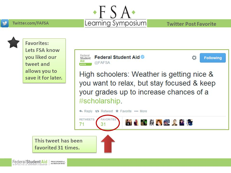 Lets FSA know you liked our tweet and allows you to save it for later.