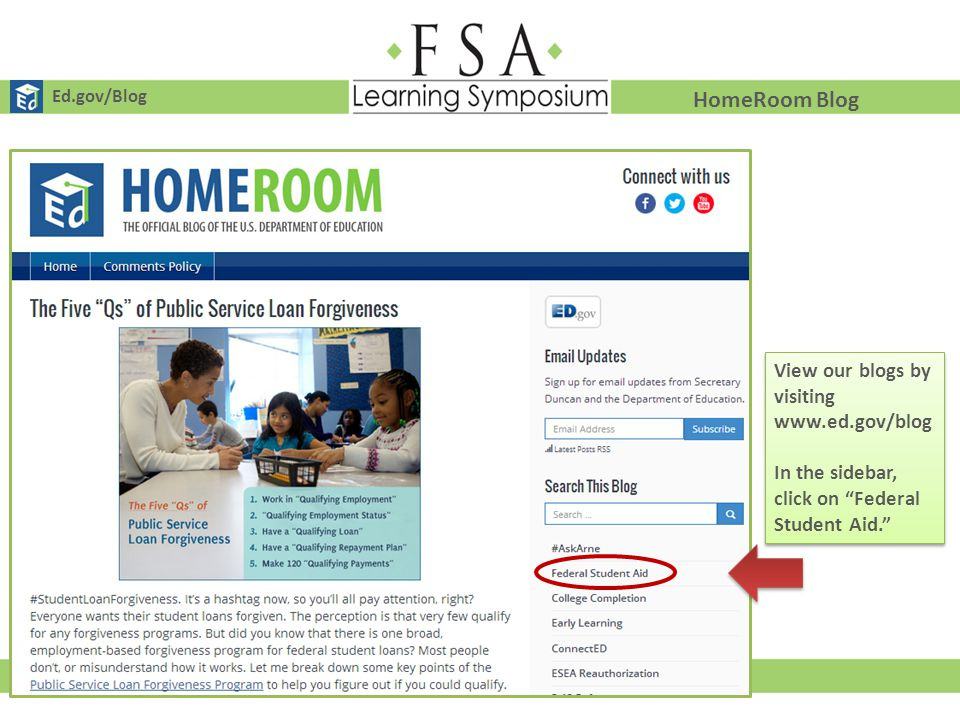 HomeRoom Blog View our blogs by visiting www.ed.gov/blog