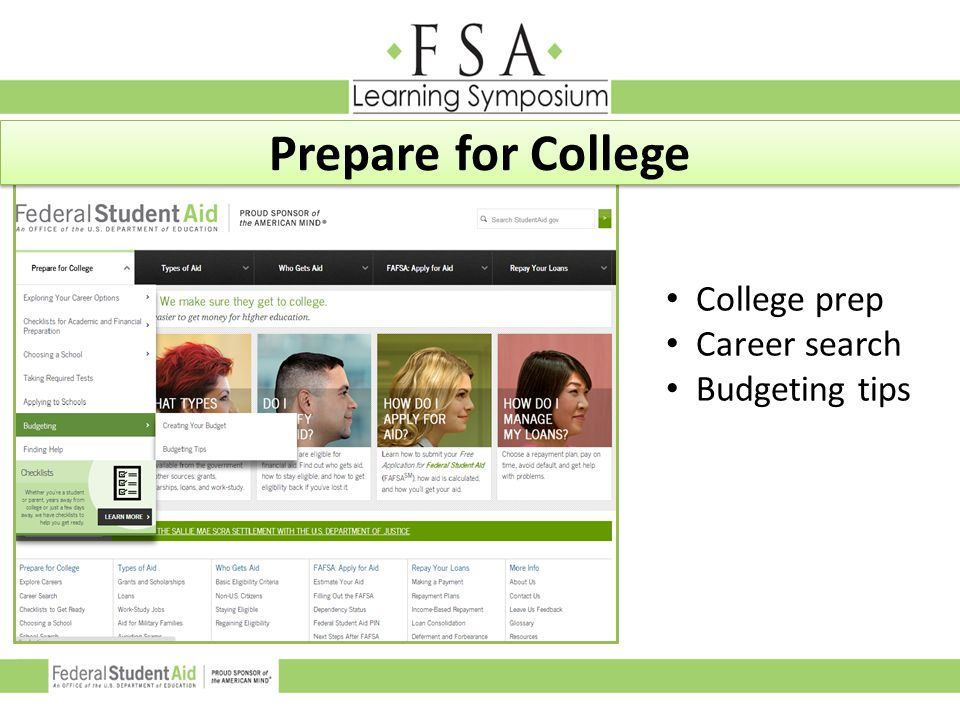 Prepare for College College prep Career search Budgeting tips