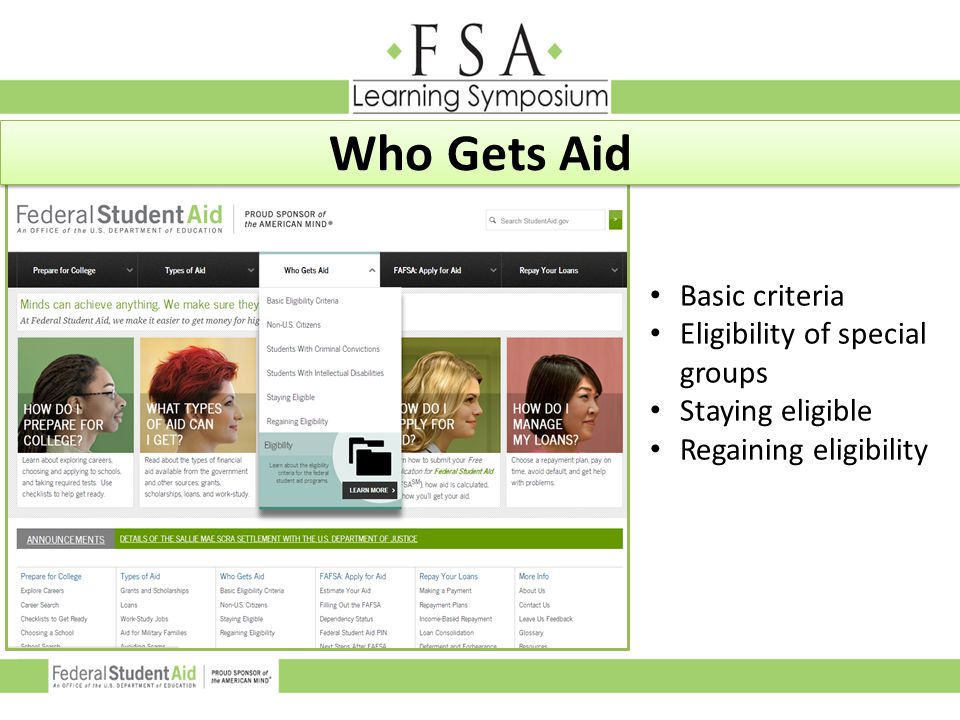 Who Gets Aid Basic criteria Eligibility of special groups