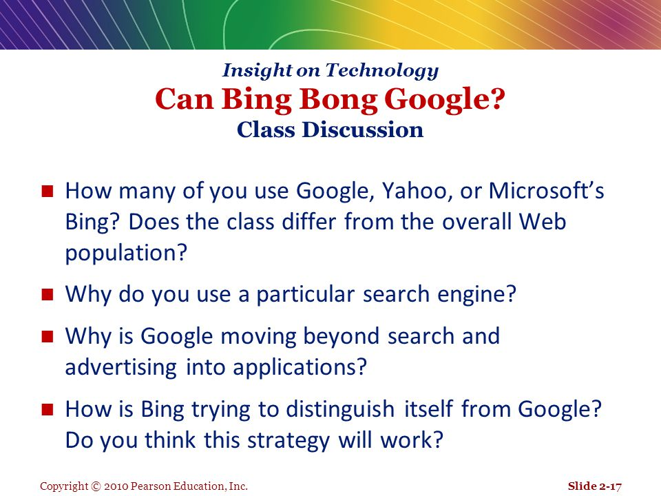 Insight on Technology Can Bing Bong Google Class Discussion