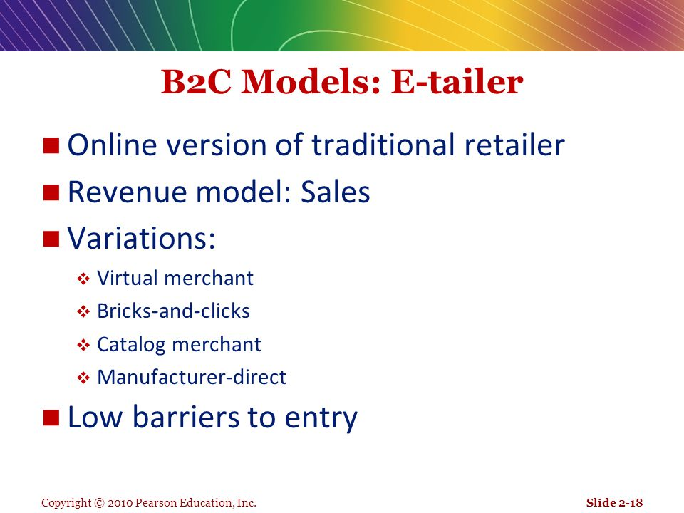 Online version of traditional retailer Revenue model: Sales