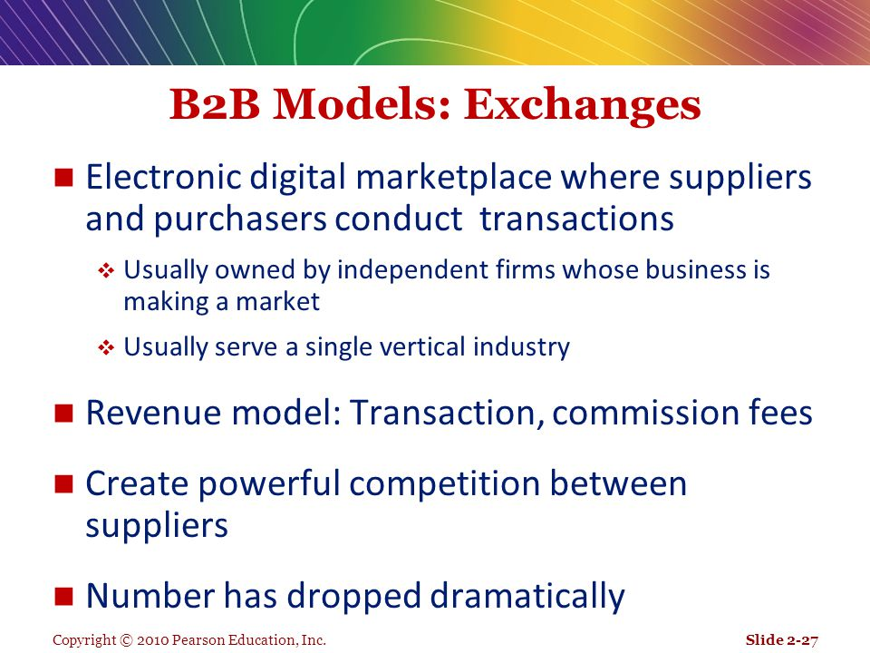 B2B Models: Exchanges Electronic digital marketplace where suppliers and purchasers conduct transactions.